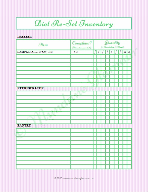 Diet Reset-Inventory Printable